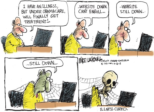 Website Down © Mike Luckovich,The Atlanta Journal Constitution,obamacare,website,down,register,sick,illness,obamacare-exchange