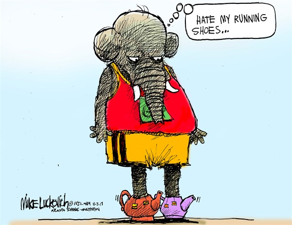 Running Shoes © Mike Luckovich,The Atlanta Journal Constitution,tea party,running,shoes,top