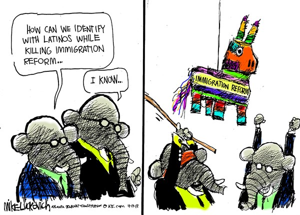 Killing Immigration Reform © Mike Luckovich,The Atlanta Journal Constitution,immigration reform,gop,latinos