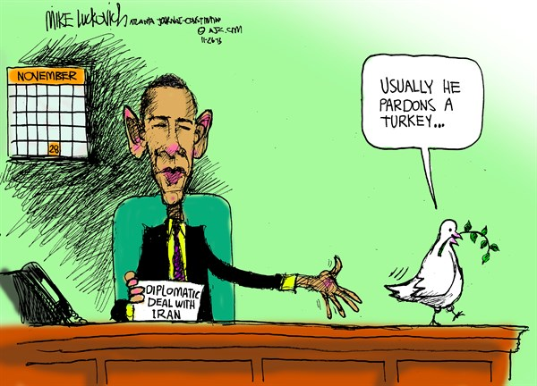 Thanksgiving Deal With Iran © Mike Luckovich,The Atlanta Journal Constitution,,iran-nuke-deal,thanksgiving-2013,turkeys-2013