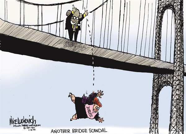 Another Bridge Scandal © Mike Luckovich,The Atlanta Journal Constitution,,chris-christie-bridge