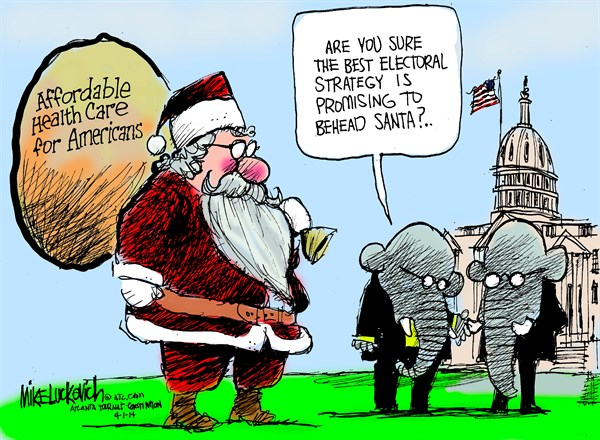 Behead Santa © Mike Luckovich,The Atlanta Journal Constitution,health care,affordable,insurance,strategy