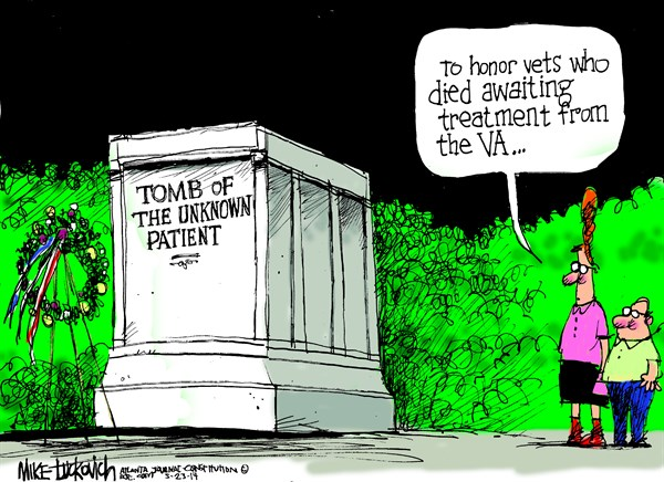 Tomb of the Unknown Patient © Mike Luckovich,The Atlanta Journal Constitution,tomb,patient,treatment,died,va-waiting