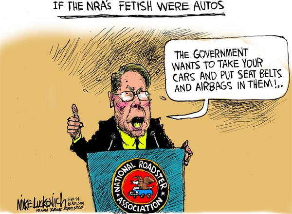 NRAs Fetish © Mike Luckovich,The Atlanta Journal Constitution,nra,fetish,autos,cars,airbags,seat belts