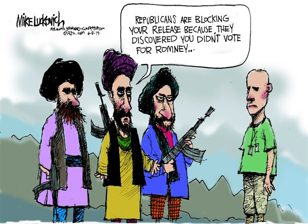 Blocking Your Release © Mike Luckovich,The Atlanta Journal Constitution,republicans,romney,trade,pow-trade