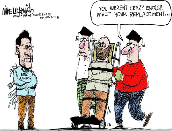 Eric Cantors Replacement © Mike Luckovich,The Atlanta Journal Constitution,cantor,loss,replacement,crazy,eric-cantor-loses