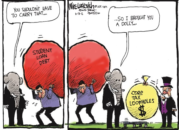 Heavy Debt © Mike Luckovich,The Atlanta Journal Constitution,student loans 2014,debt,school,education,corporate,loopholes