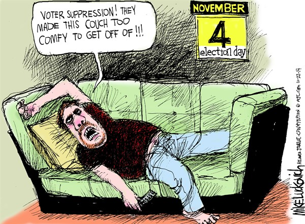 Voter Suppression © Mike Luckovich,The Atlanta Journal Constitution,voter,suppression,couch,election,,midterm-elections-2014