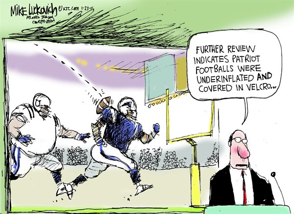 Further Review © Mike Luckovich,The Atlanta Journal Constitution,deflated,footballs,patriots,velcro,players,patriots-cheating