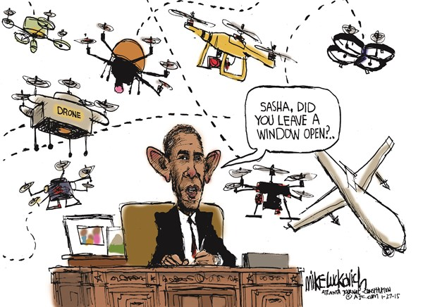 Obamas Drones © Mike Luckovich,The Atlanta Journal Constitution,drones,obama,white house,faa-drones