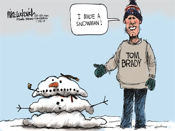 Bradys Snowman © Mike Luckovich,The Atlanta Journal Constitution,blizzard,cold,weather,tom brady,snowman,patriots-cheating