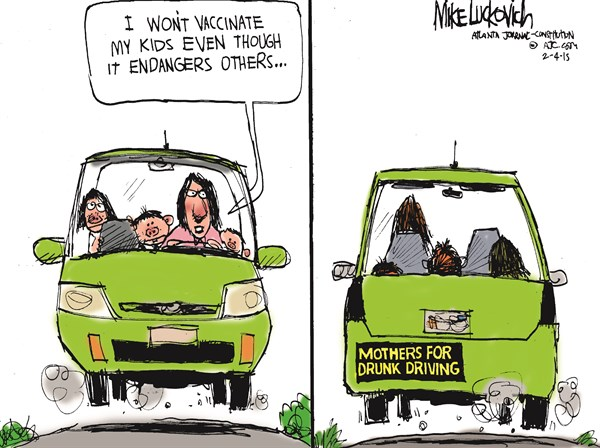Endanger Others © Mike Luckovich,The Atlanta Journal Constitution,vaccine debate,endanger,drunk driving,mothers,shot,sick,danger