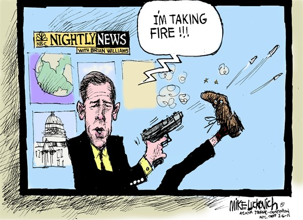 Taking Fire © Mike Luckovich,The Atlanta Journal Constitution,brian williams,fire,reporting,news,brian-williams