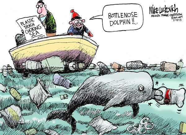 Trash Choking Sea © Mike Luckovich,The Atlanta Journal Constitution,trash,sea,bottlenose dolphin,bottlenose,dolphin,marine,water,pollution,trash,plastic