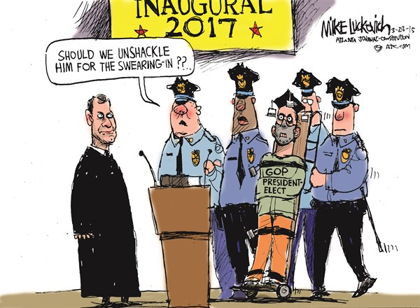 Inaugural 2017 © Mike Luckovich,The Atlanta Journal Constitution,inaugural,swearing,chain,gop 2016,campaign,president,election