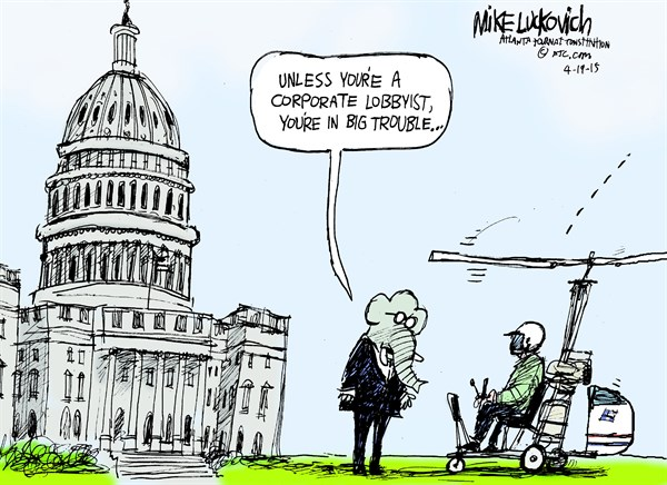 Big Trouble © Mike Luckovich,The Atlanta Journal Constitution,quadcopter,white house,lobbyist,corporate