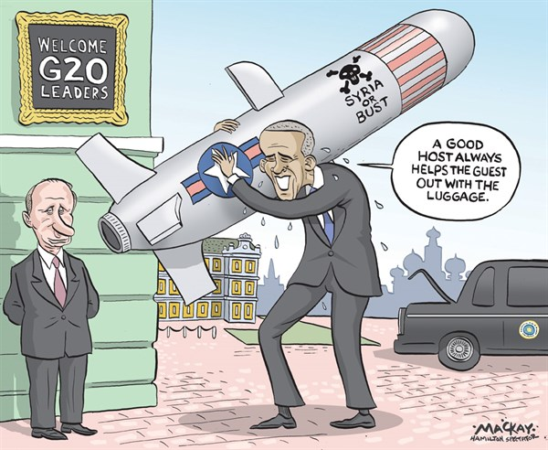Syria or Bust © Grame MacKay,The Hamilton Spectator, Ontario Canada,obama,putin,assad,weapons,war,fighting,violence,g20,summit,obama-and-putin,obama-and-russia,obama-putin-syria,syria-chemical-weapons,war-with-syria