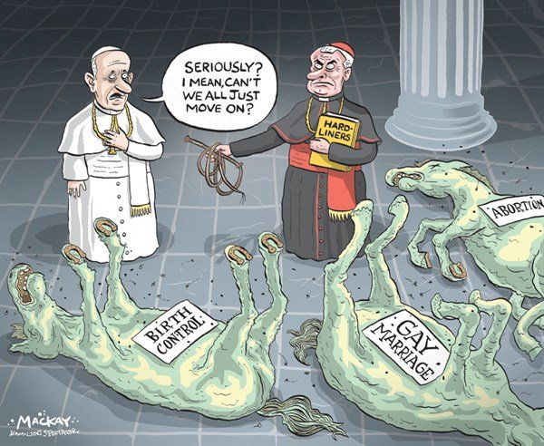 Hard Liners © Grame MacKay,The Hamilton Spectator, Ontario Canada,abortion,catholic,pope,birth control