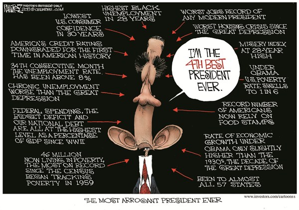 Fourth Best President © Michael Ramirez,Investors Business Daily,obama,education,president,poverty,war,confience,arrogant