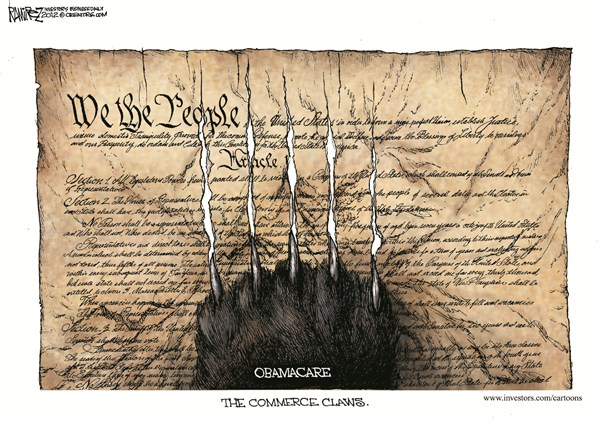 The Commerce Claws © Michael Ramirez,Investors Business Daily,obamacare,commerce,constitution,health care