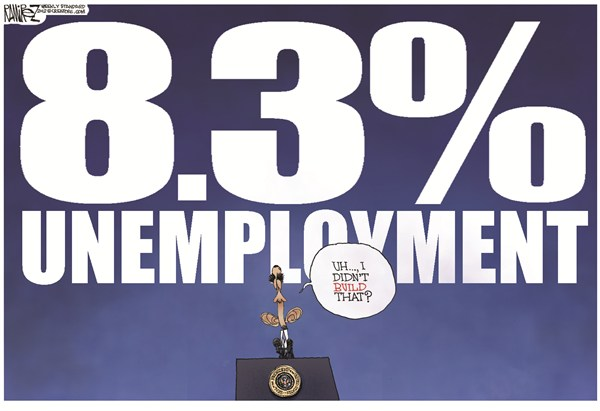 Unemployment © Michael Ramirez,Investors Business Daily,obama,build,election,campaign,obama-reelection,