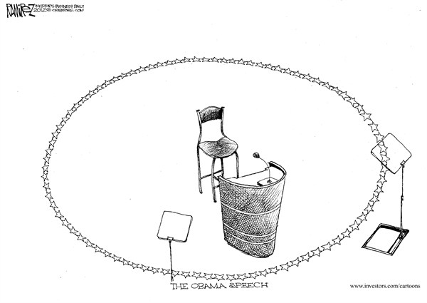 The Obama Speech © Michael Ramirez,Investors Business Daily,dnc,obama,speech,circle,empty,chair,campaign,election,democratic-convention-2012,obama-reelection