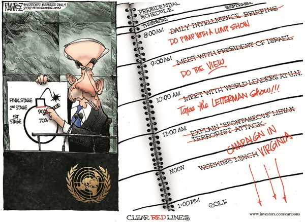 Clear Red Lines © Michael Ramirez,Investors Business Daily,obama,lines,letterman,campaign,virginia,view,tv