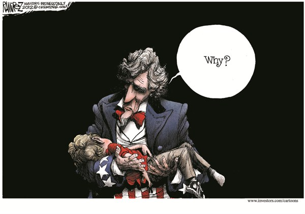 Why © Michael Ramirez,Investors Business Daily,guns,violence,victim,shooting,death,kids,school,connecticut shooting, gun debate 2012, school violence
