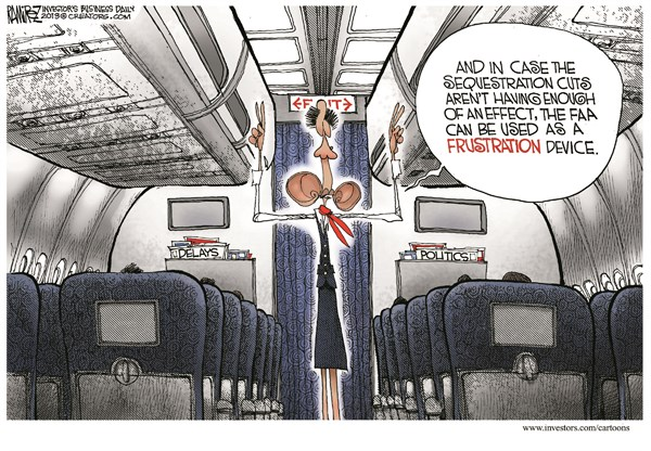 Frustration Device © Michael Ramirez,Investors Business Daily,FAA,furlough,air traffic,controllers,budget,cuts,flights,sequester,delay,sequestration,frustration,faa-furlough