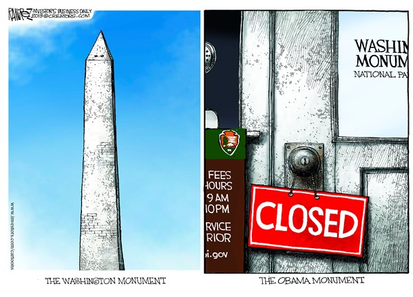 The Obama Monument © Michael Ramirez,Investors Business Daily,monument,closed,shutdown,government-shutdown-2013,memorial-closed