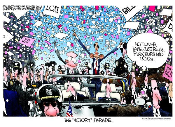 The Victory Parade © Michael Ramirez,Investors Business Daily,victory,parade,obama,iou,pink slip,shutdown-over