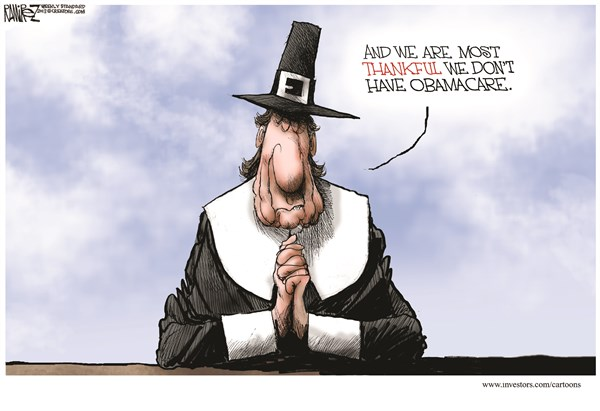 Not Thankful for Obamacare © Michael Ramirez,Investors Business Daily,obamacare,obama,glitch,lies,health,plan,obamacare-lies,thanksgiving-2013
