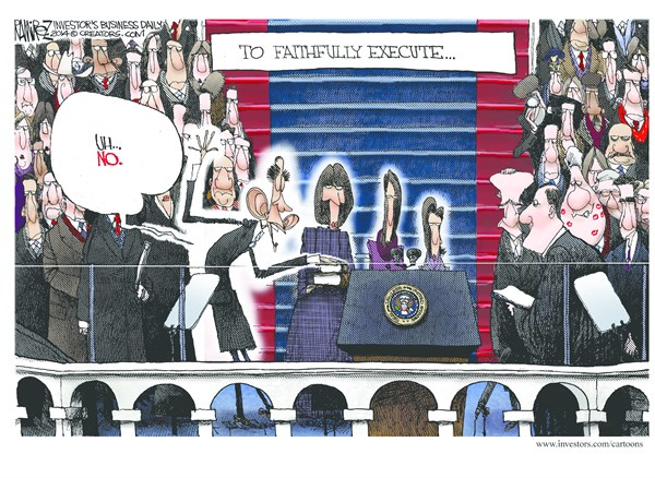 Faithfully Execute © Michael Ramirez,Investors Business Daily,obama,bill clinton,execute