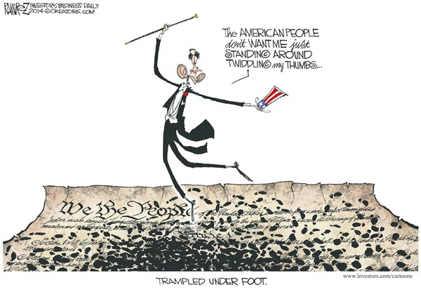 Trampled Under Foot © Michael Ramirez,Investors Business Daily,obama,constitution,trampled