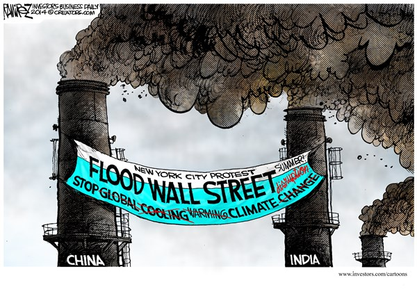 Flood Wall Street © Michael Ramirez,Investors Business Daily,wall street,china,india,protest,new york city,climate change,global