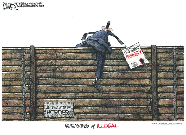 Speaking of Illegal © Michael Ramirez,Investors Business Daily,immigration reform,border,obama,amnesty,illegal