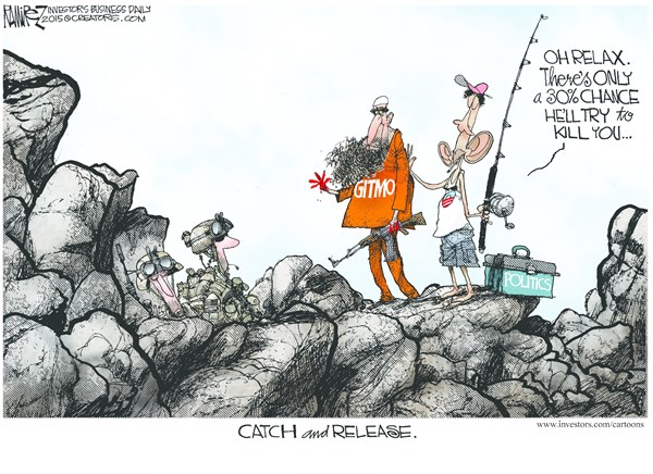 Catch and Release © Michael Ramirez,Investors Business Daily,catch,release,prisoner,kill,gitmo,obama
