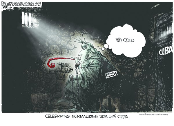 Ties With Cuba © Michael Ramirez,Investors Business Daily,cuba policy,ties,liberty,justice