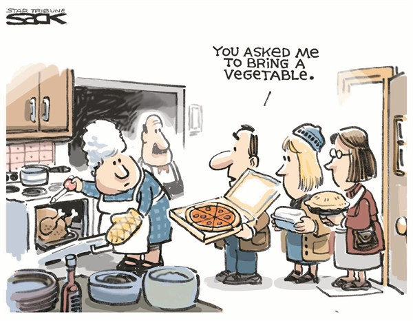 Steve Sack - The Minneapolis Star Tribune - Pizza is a Vegetable - English - Thanksgiving,pizza,vegetable