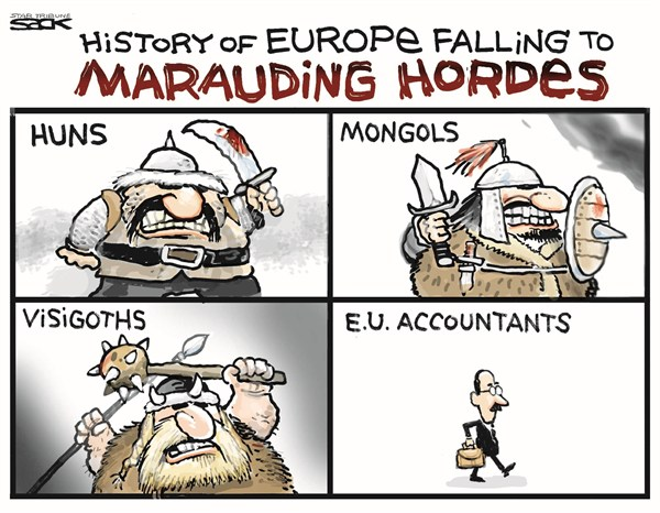 Steve Sack - The Minneapolis Star Tribune - Europe Falling - English - euro,hordes,Europe,falling,accoutants