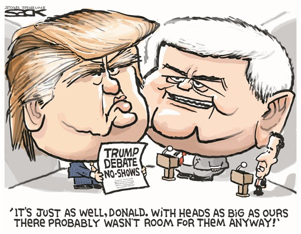 Steve Sack - The Minneapolis Star Tribune - Trump Debate No Show - English - Trump,debate,newt,show,GOP,campaign,2012