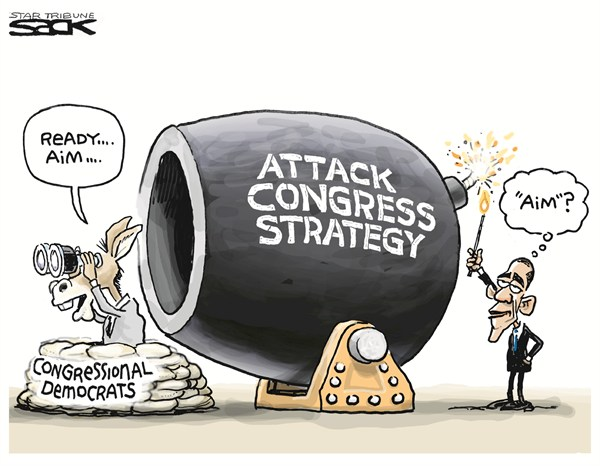 Steve Sack - The Minneapolis Star Tribune - Attack Congress - English - attack,Congress,strategy,Obama,canon,democrats