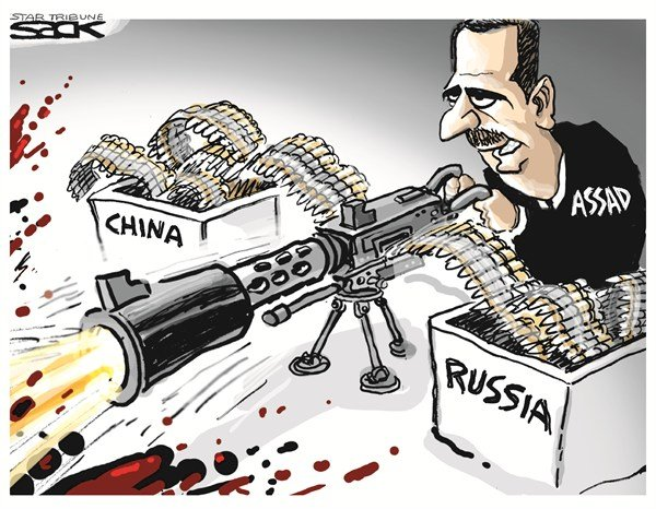 Steve Sack - The Minneapolis Star Tribune - Assad - English - syria,assad,russia,china,weapons,violence