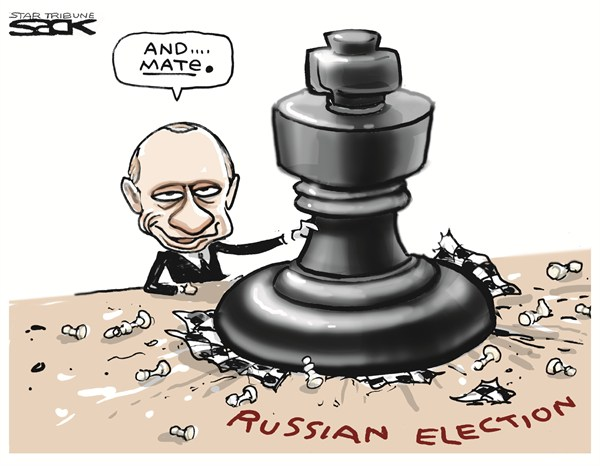 Steve Sack - The Minneapolis Star Tribune - Checkmate - English - putin,wins,russia,election,leader,vote