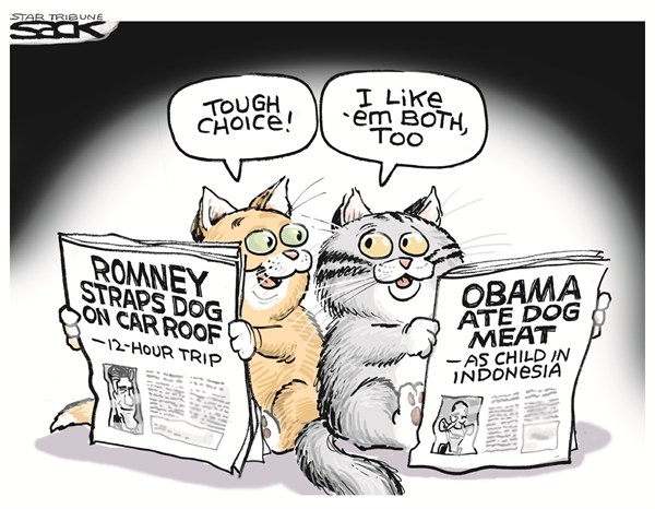 Steve Sack - The Minneapolis Star Tribune - Obama Ate Dog - English - obama,ate,dog,romney,cage,car,indonesia