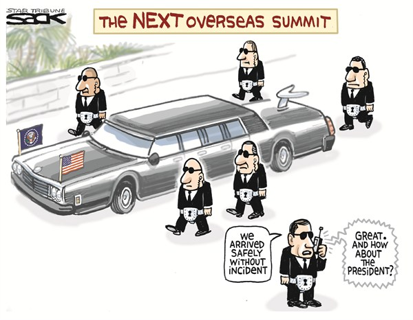 Steve Sack - The Minneapolis Star Tribune - Safe Arrival - English - secret service,scandal,summit,overseas,president,obama
