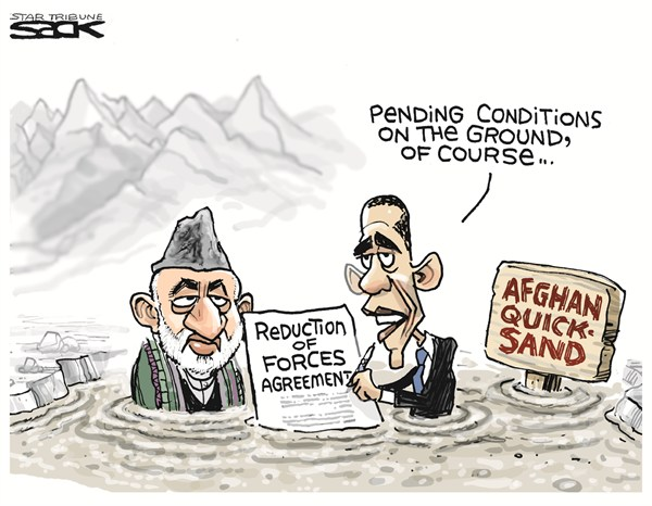 Steve Sack - The Minneapolis Star Tribune - Afghan Quicksand - English - obama,afghanistan,quicksand,reduction,agreement,forces