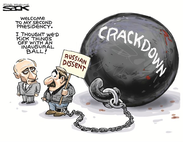 Steve Sack - The Minneapolis Star Tribune - Putins Crackdown - English - putin,russia,crackdown,dissent,second,presidency