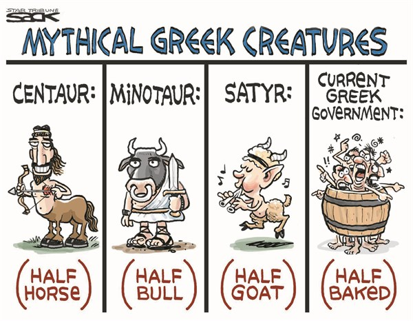 Steve Sack - The Minneapolis Star Tribune - Greek Creatures - English - greek,creatures,horse,bull,goat,euro,government,currency