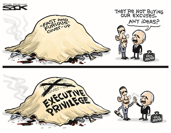Executive Privilege © Steve Sack,The Minneapolis Star Tribune,holder,obama,executive,privlege,guns,order